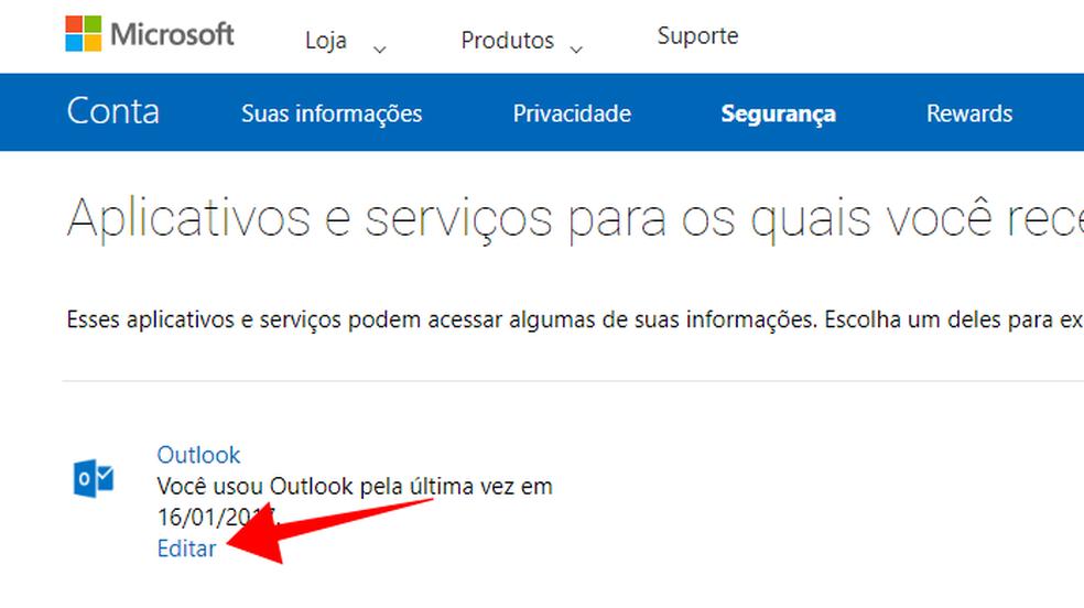 Edite as opções de um app conectado à sua conta da Microsoft (Foto: Reprodução/Paulo Alves)