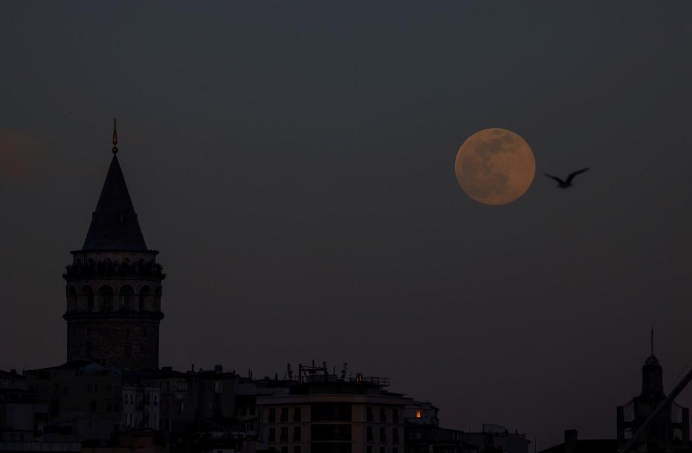 Superlua rosa é observada no céu de Istambul, Turquia, em 26 de abril de 2021 — Foto: Umit Bektas/Reuters