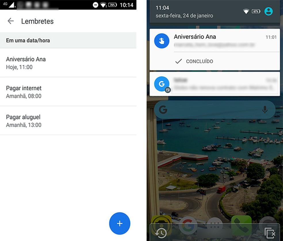 Google App lembra o usuário de seus compromissos com a ferramenta lembretes — Foto: Reprodução/Marcela Franco
