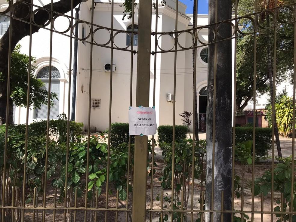 Aviso colocado em poste na Praça do Carmo, em Fortaleza, avisa: cuidado, ataque de abelhas — Foto: Ana Beatriz Farias/SVM