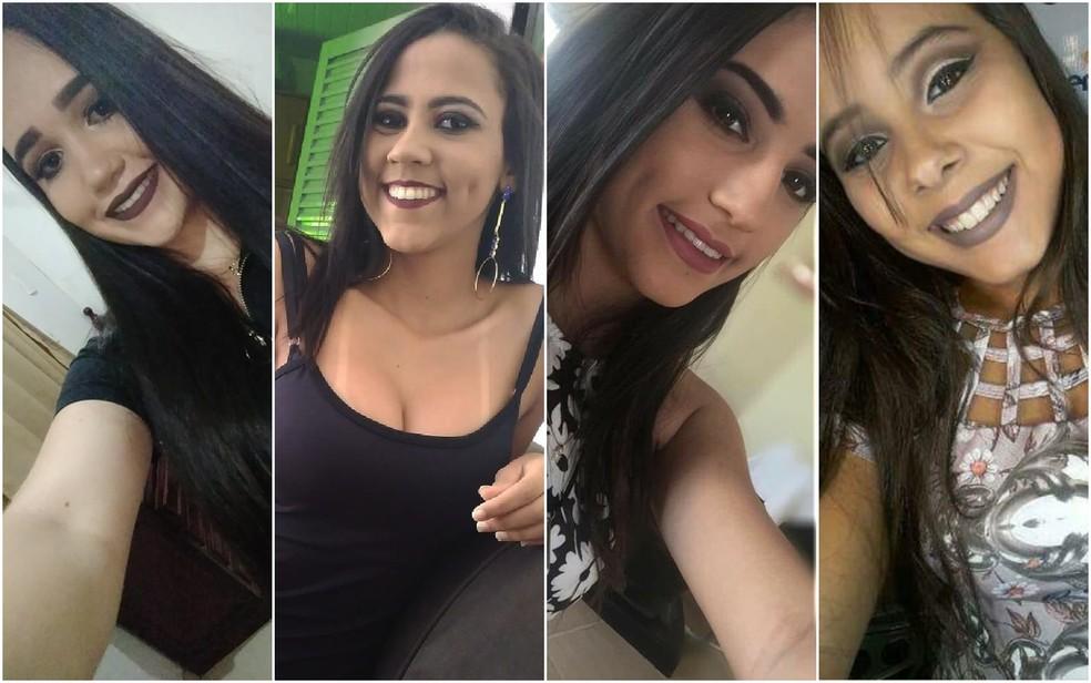 Mariane, Talia, Tatiele e Isabela se feriram em acidente com brinquedo em parque de diversões de Ceres Goiás (Foto: Reprodução/Arquivo pessoal)