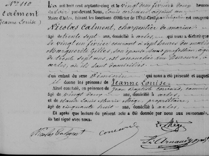 Certidão de nascimento de Jeanne (Foto: Wikimedia Commons)