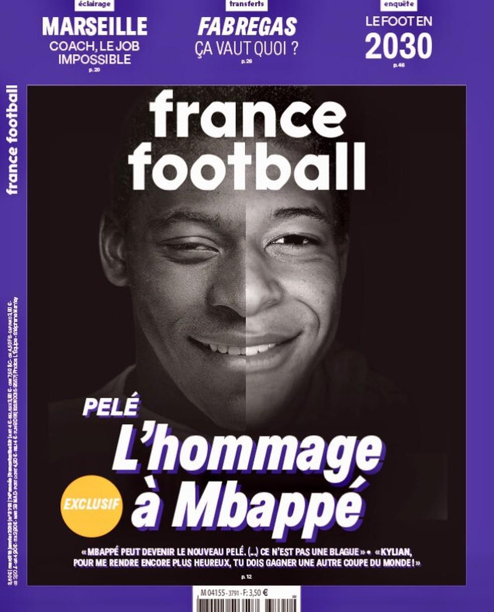 Pelé na capa da France Football com Mbappé — Foto: Reprodução / France Football