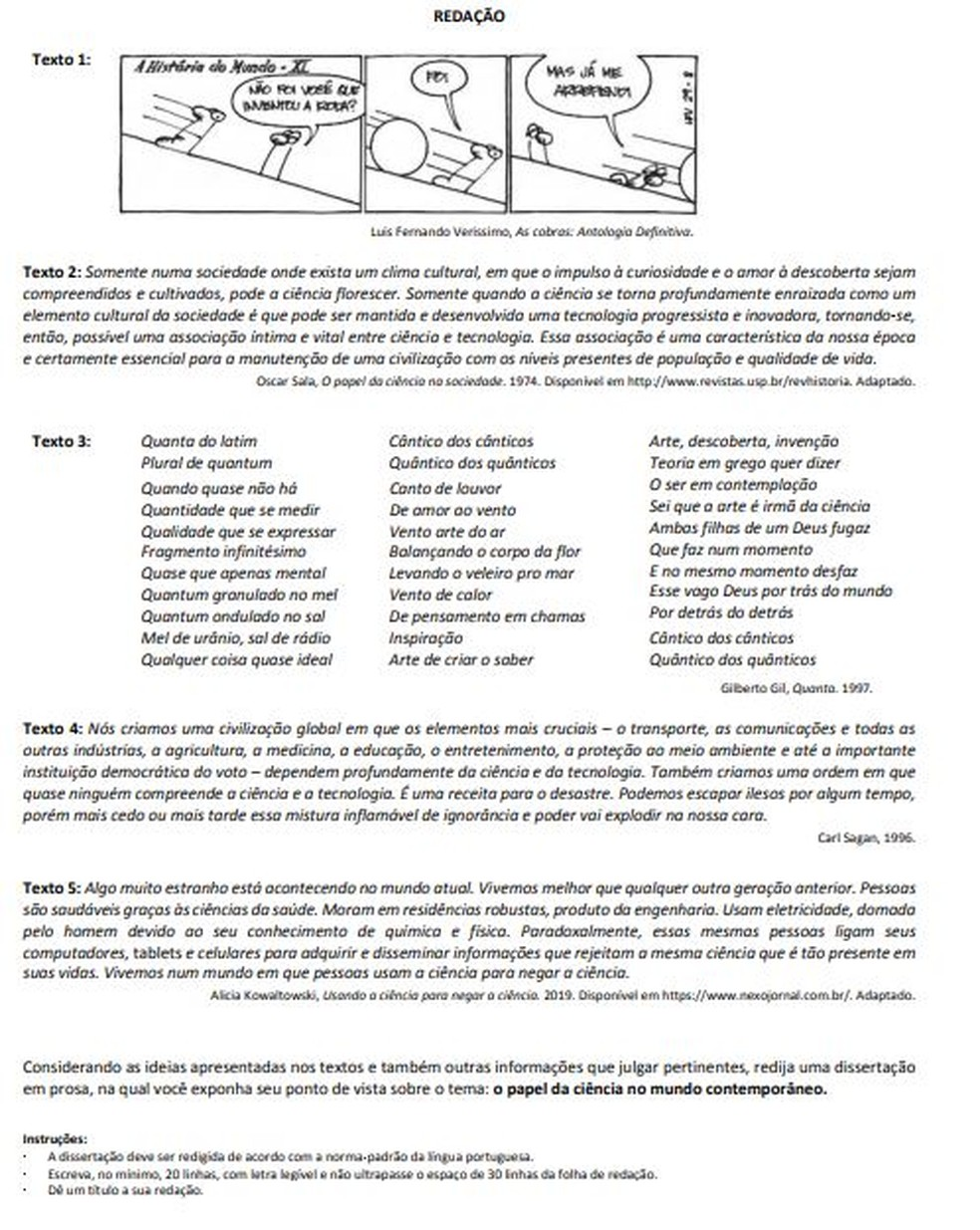 Prova de redação da Fuvest 2020 — Foto: Reprodução/Fuvest