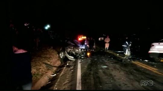 Mulher morre e três pessoas ficam feridas em acidente na PR-492