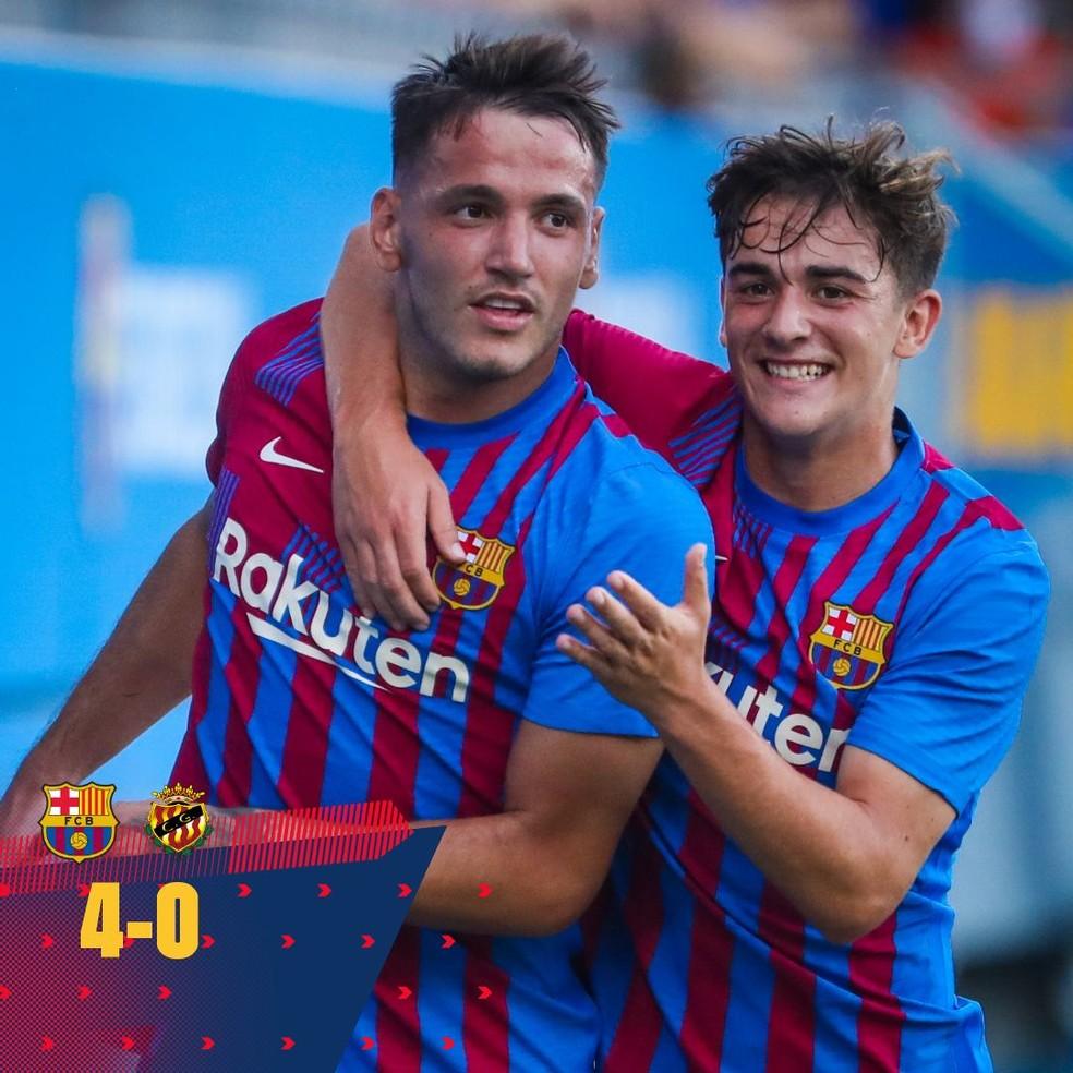 Sem principais nomes, Barcelona vence por 4 a 0 no primeiro amistoso da pré-temporada 2021/22 — Foto: Reprodução / Twitter