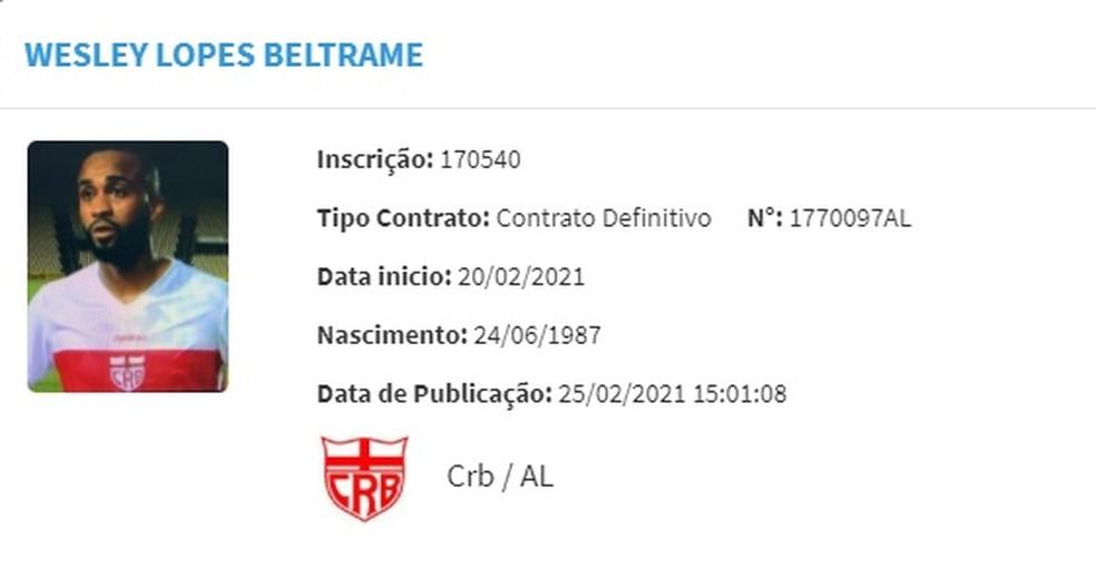 Wesley é regularizado no BID da CBF — Foto: Divulgação/CBF