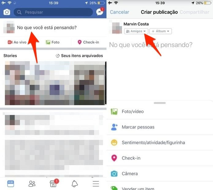 Ação para visualizar a opção de privacidade de posts do Facebook pelo celular (Foto: Reprodução/Marvin Costa)