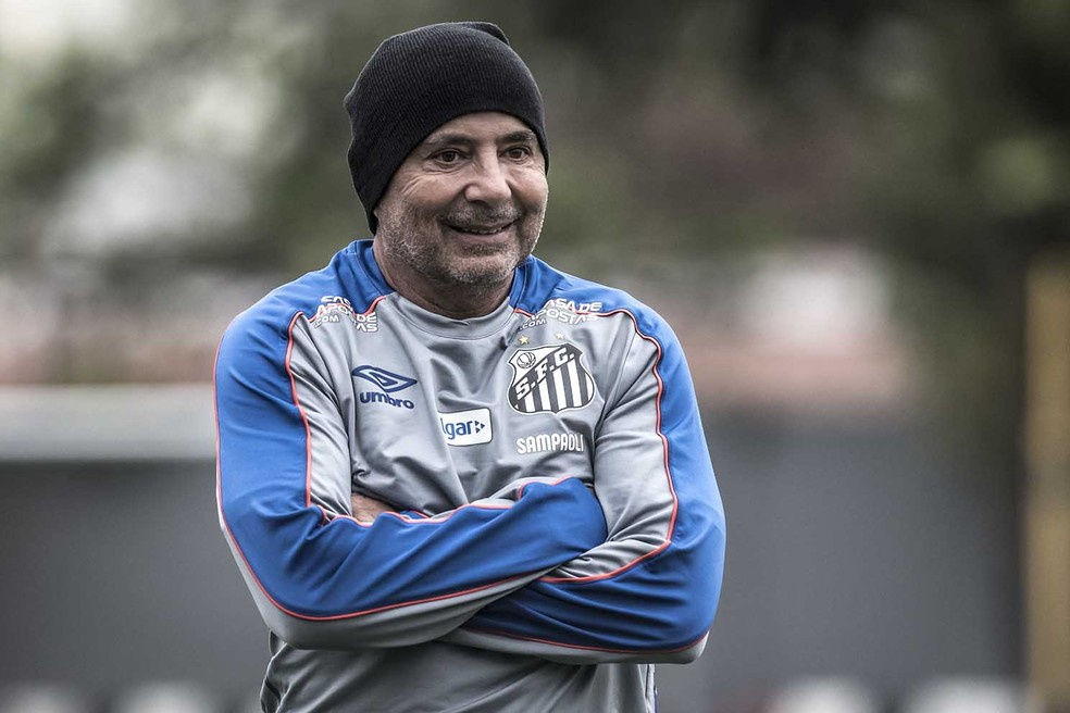 Sampaoli est feliz no Santos onde quer ficar por muito tempo  Foto Ivan StortiSantos FC