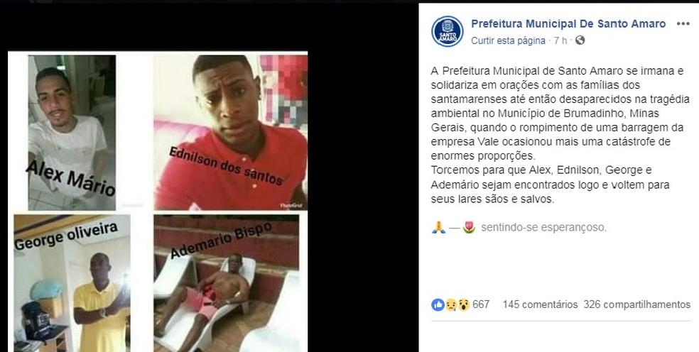 Prefeitura de Santo Amaro divulgou nota se solidarizando com os familiares dos baianos desaparecidos — Foto: Reprodução/ Facebook