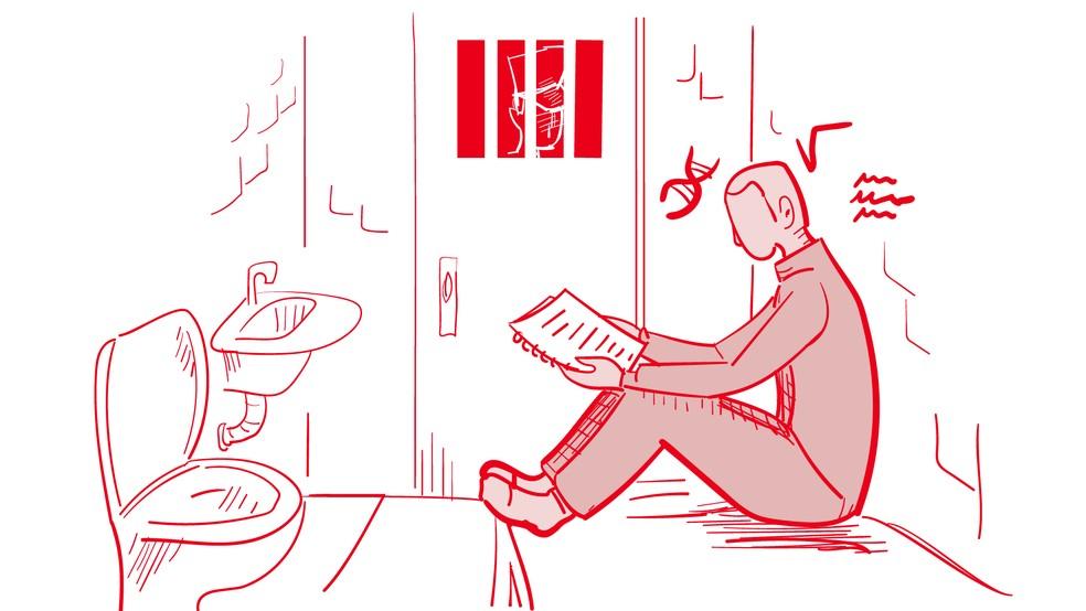 Detento com material de estudo nas mãos, em arte de arquivo — Foto: Arte/G1