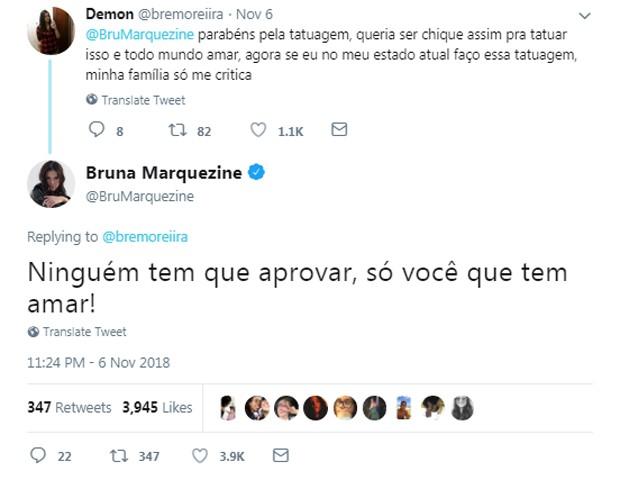 Comentário de Bruna Marquezine sobre tatuagem (Foto: Reprodução/Twitter)