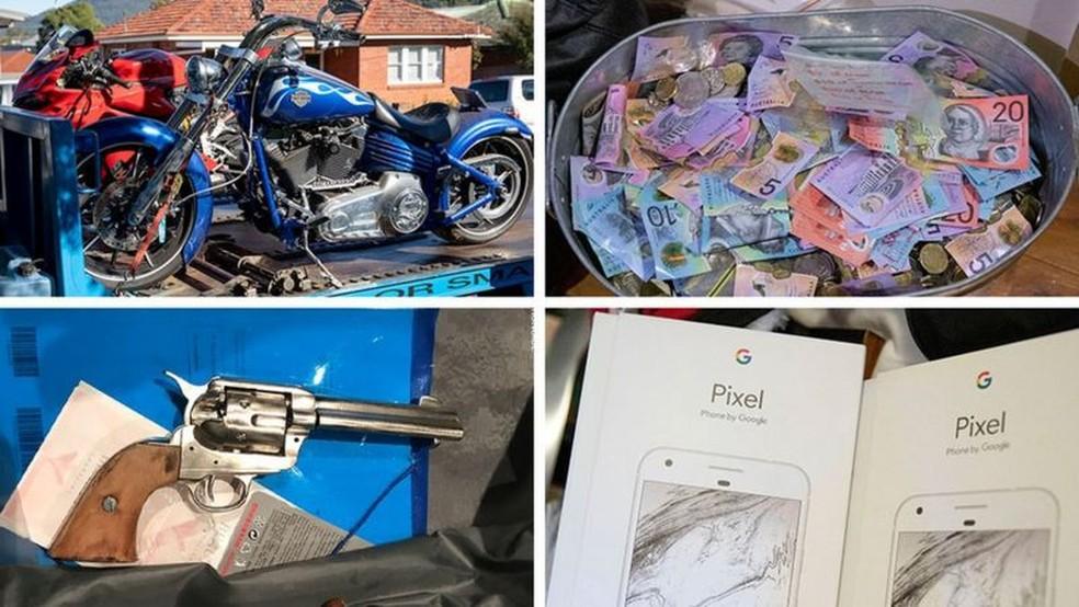 Itens apreendidos incluíam motos e dinheiro — Foto: Polícia Federal da Austrália
