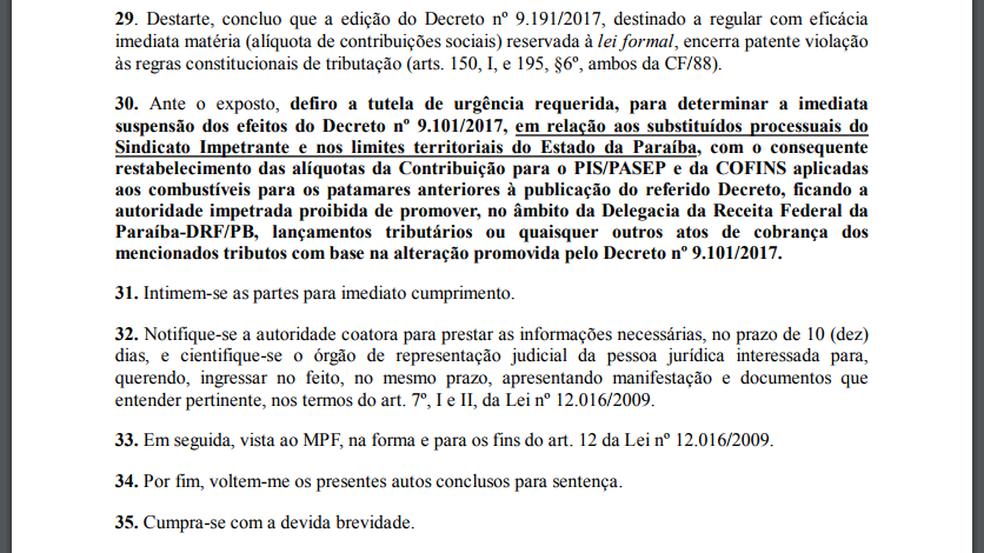 Juiz federal determinou a suspensão imediata do aumento das alíquotas do PIS e Cofins (Foto: Reprodução/Justiça Federal na Paraíba)