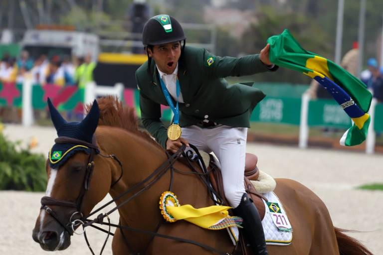 Marlon Zanotelli e seu cavalo VDL Edgar no Pan-Americano de 2019 (Foto: Luis Ruas/Confederação Brasileira de Hipismo)