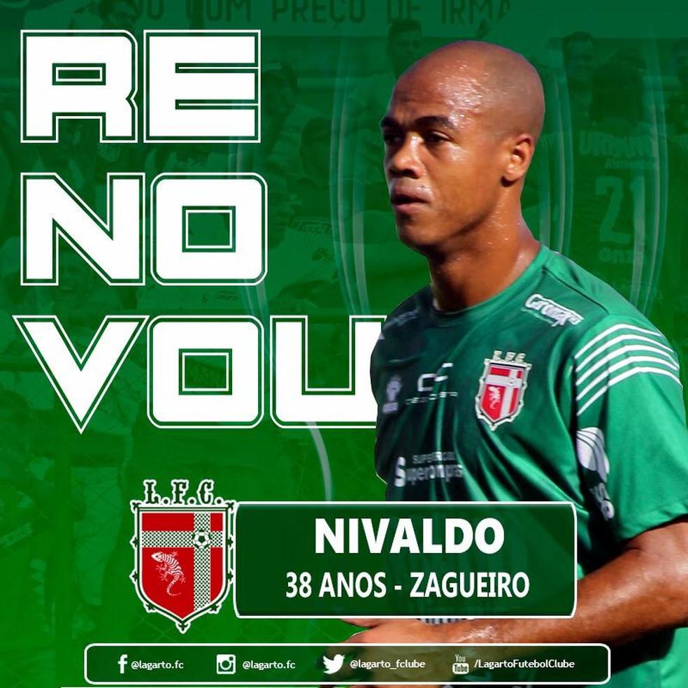 3bc875044 Diretoria do Lagarto renova contrato com zagueiro Nivaldo