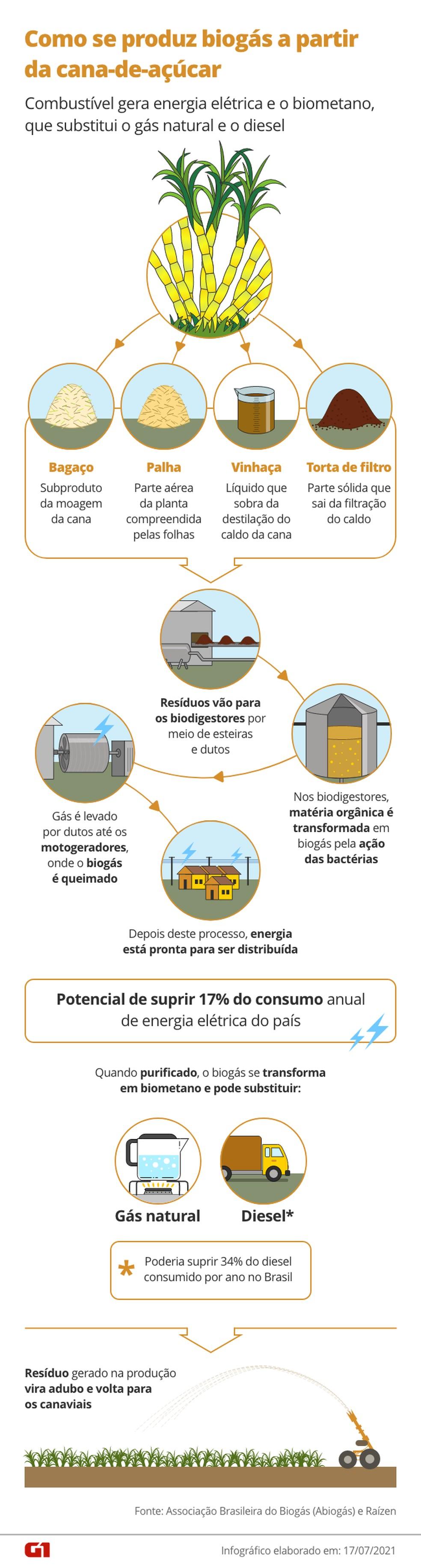 Percurso de produção do biogás, biometano e retorno de resíduos para as lavouras. — Foto: Arte/G
