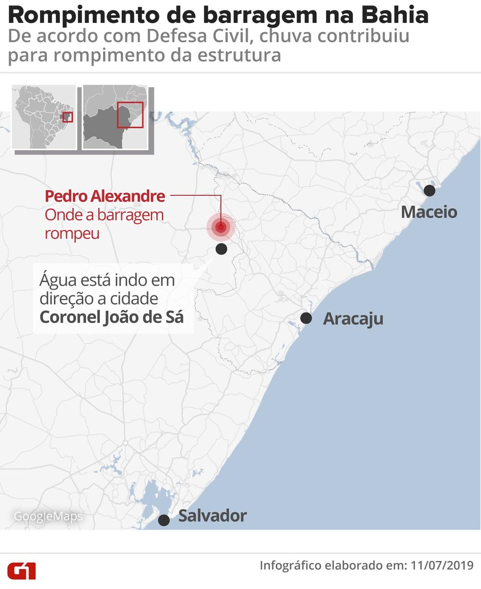 Barragem rompeu em Pedro Alexandre, na Bahia — Foto: Arte/G1