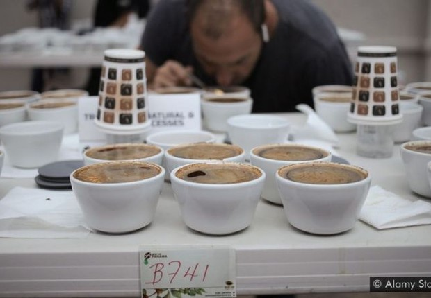 BBC: Um jurado examina os cafés participantes da competição 'The Best of Panama' (Foto: ALAMY VIA BBC )