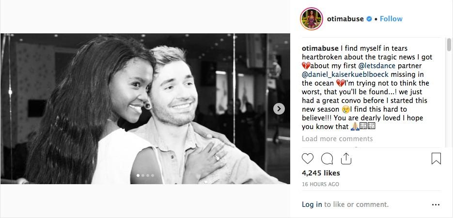 O post da amiga de Daniel Küblböck lamentando o desaparecimento do músico (Foto: Instagram)