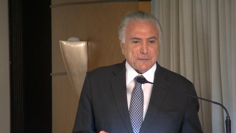 Presidente Michel Temer (MDB) esteve em Curitiba nesta terça-feira (16) — Foto: Reprodução/ RPC Curitiba