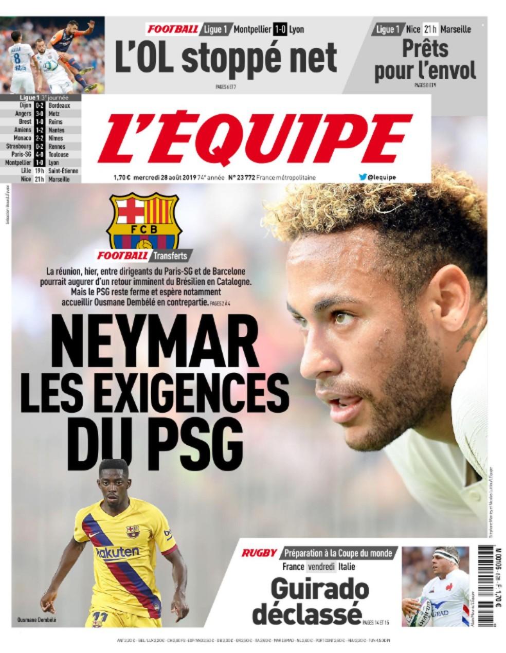 Capa do L'Équipe sobre Neymar, Barcelona e Paris Saint-Germain — Foto: Divulgação