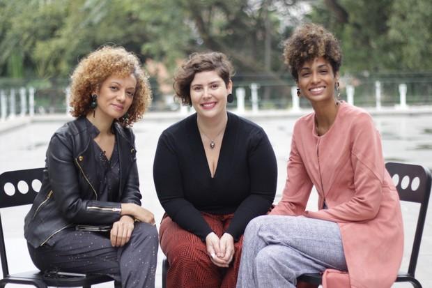 A editora-sênior Adriana Ferreira, a psicanalista Mayara Ferreira e a colunista Stephanie Ribeiro (Foto: Cristiane Senna)