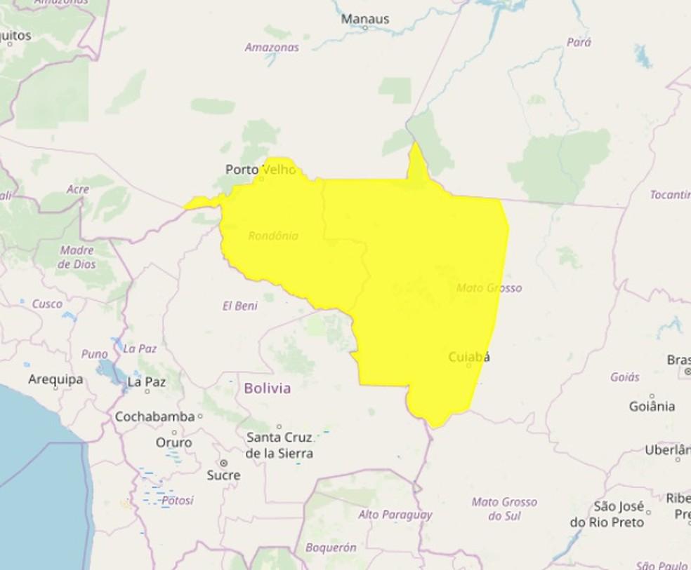 Inmet disparou alerta amarelo para Rondônia nesta segunda-feira (11).  — Foto: Reprodução/Inmet