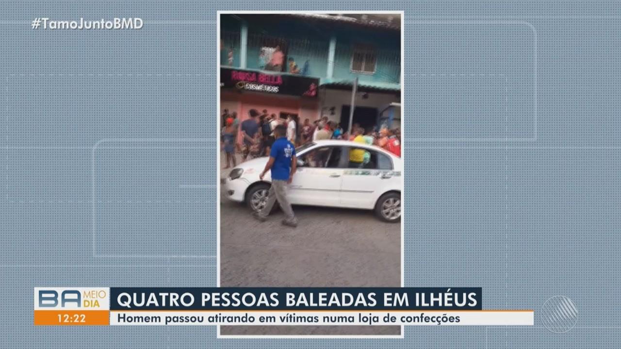 Quatro ficam feridos depois que um desconhecido atirou contra loja, em Ilhéus