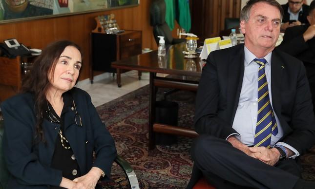 Regina durante encontro com Bolsonaro