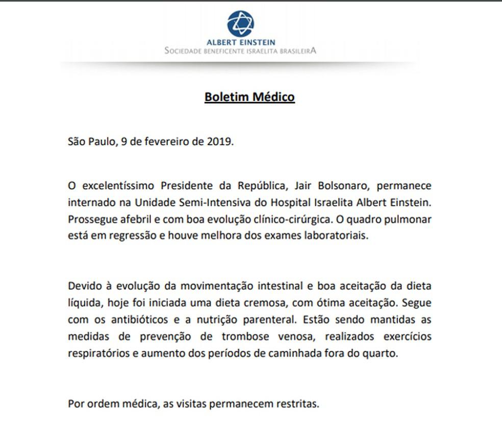 Boletim médico do presidente Jair Bolsonaro de sábado, 9 de fevereiro — Foto: Divulgação/Hospital Albert Einstein