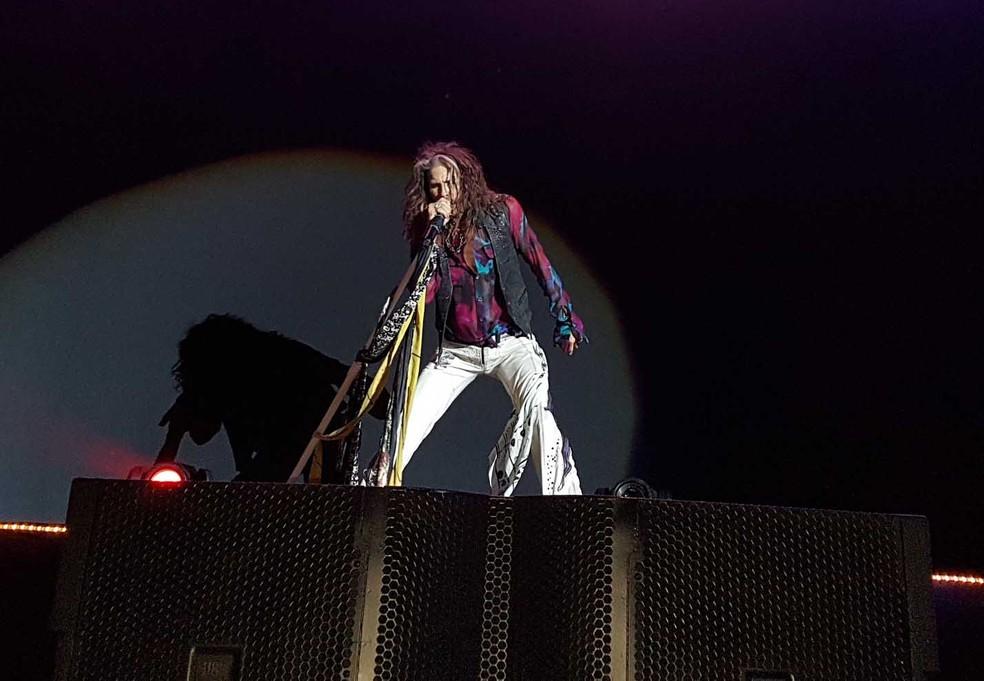 Steven Tyler, vocalista do Aerosmith, em Belo Horizonte (Foto: Thais Pimentel/G1)