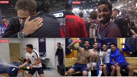 Adversários derrotados na final da Copa da França visitam vestiário campeão  banhado de champanhe pelo capitão Thiago Silva ee1039fceec51