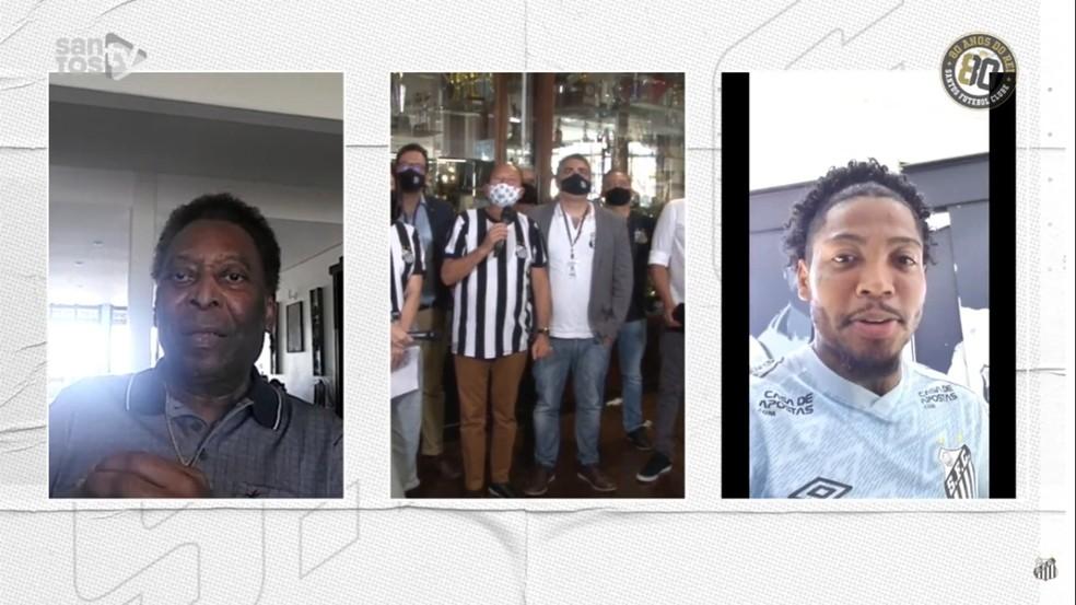 Pelé recebe os parabéns de Marinho, do Santos — Foto: Reprodução/Santos TV