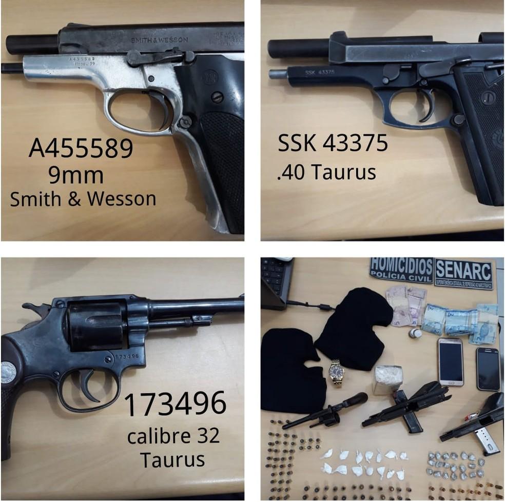 Armas e equipamentos apreendidos em operação policial na cidade de Timon — Foto: Divulgação/Polícia Civil