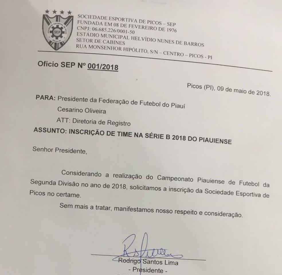 Picos está inscrito na Série B do Campeonato Piauiense (Foto: Arquivo Pessoal)