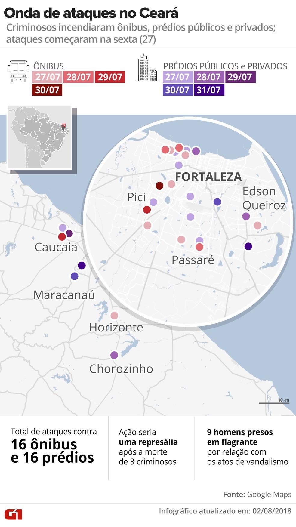 Mapa dos ataques a ônibus e prédios públicos em julho no Ceará (Foto: Roberta Jaworski/G1)