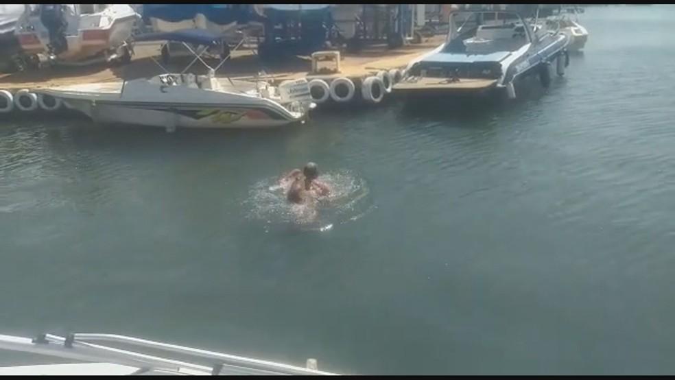 Homem é atacado por capivara no Lago Paranoá, no dF — Foto: TV Globo/Reprodução
