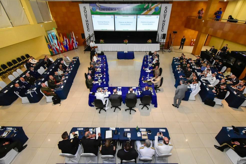 Conferência Sul-Americana de Defesa reúne chefes de Estado Maior de Defesa da América do Sul e EUA em Natal. — Foto: Pedro Vitorino