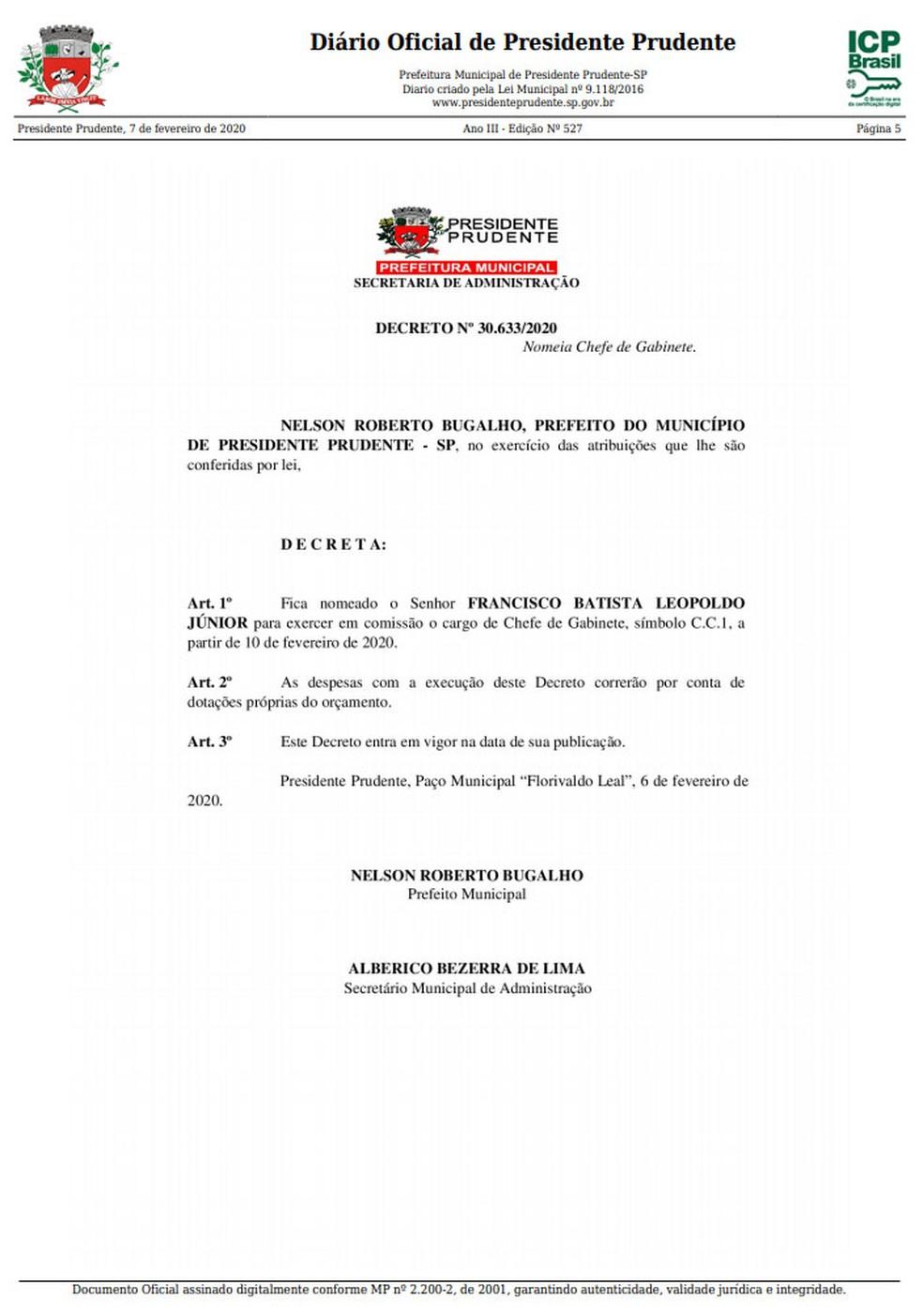 Publicação oficial ocorreu na manhã desta sexta-feira (7) — Foto: Reprodução