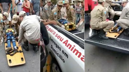 Criança atropelada é socorrida por bombeiros e transportada em caminhonete de pet shop no RJ; vídeo