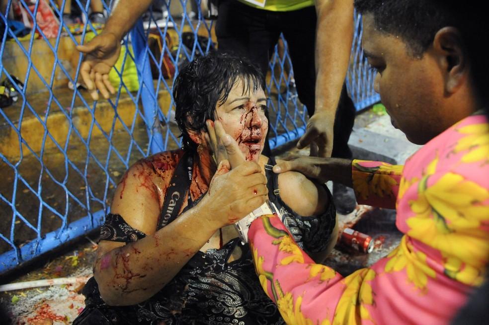 Lúcia ficou gravemente ferida no acidente com carro alegórico da Tuiuti (Foto: Alexandre Durão / G1)