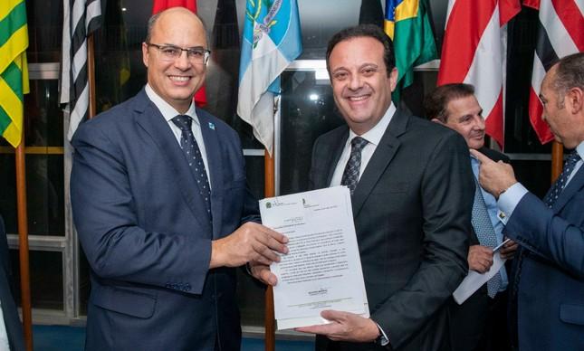 Wilson Witzel e seu novo secretário André Moura, réu no STF