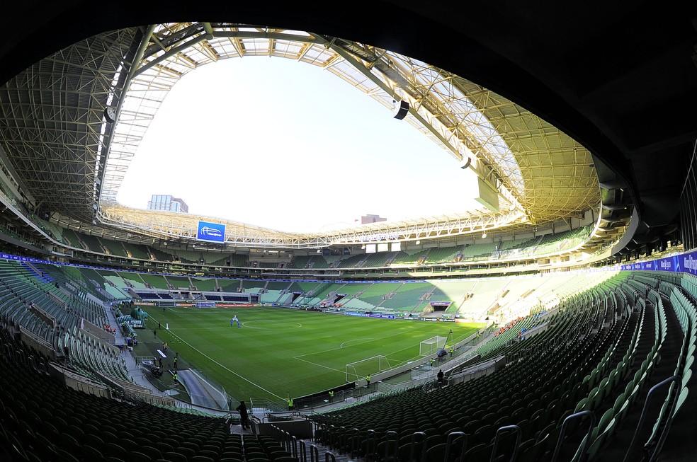 Allianz Parque, palco da partida entre Palmeiras e Flamengo, que está suspensa até o momento — Foto: Marcos Ribolli