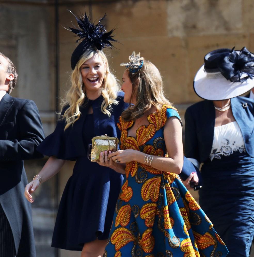 Chelsy Davy ex-namorada de Harry chega ao casamento em Windsor Foto APIan West