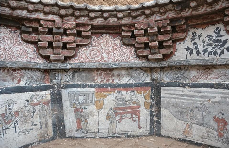 Painéis encontrados em uma tumba na China (Foto: Divulgação/ Chinese Cultural Relics)