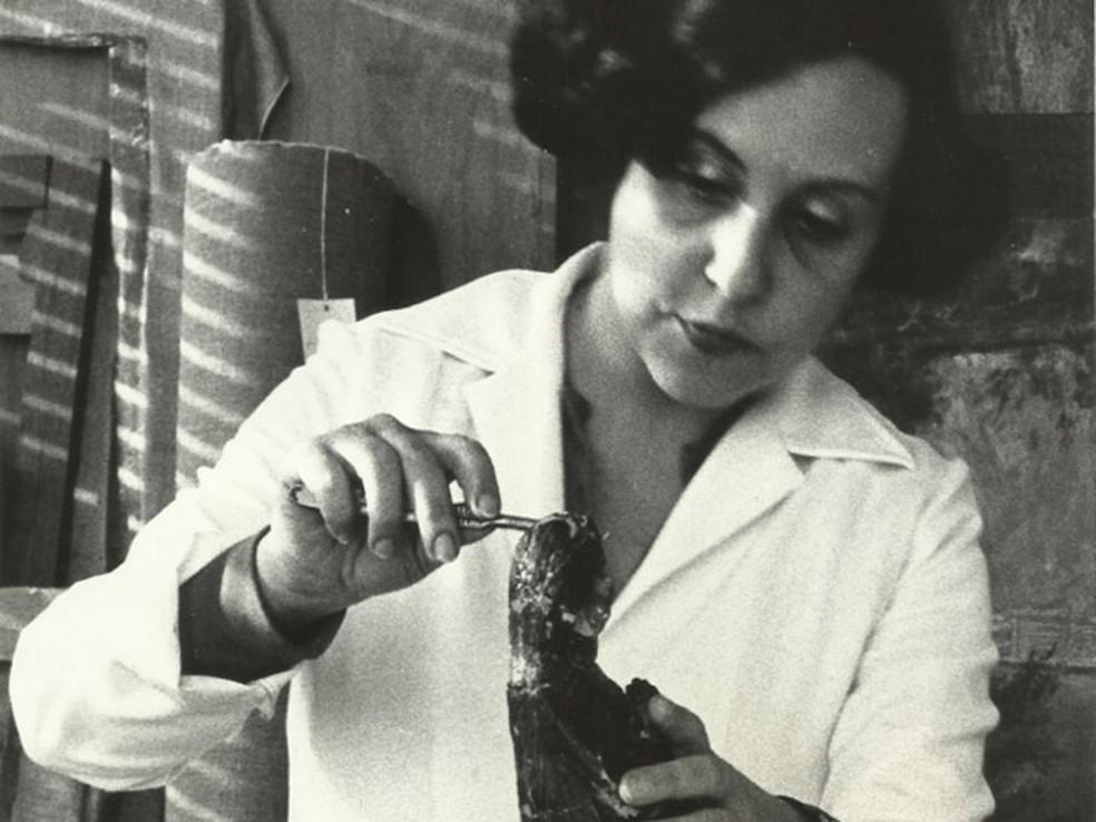 Maria Helena Chartuni durante o restauro da imagem de Nossa Senhora Aparecida (Foto: Arquivo Pessoal/ Maria Helena Chartuni)
