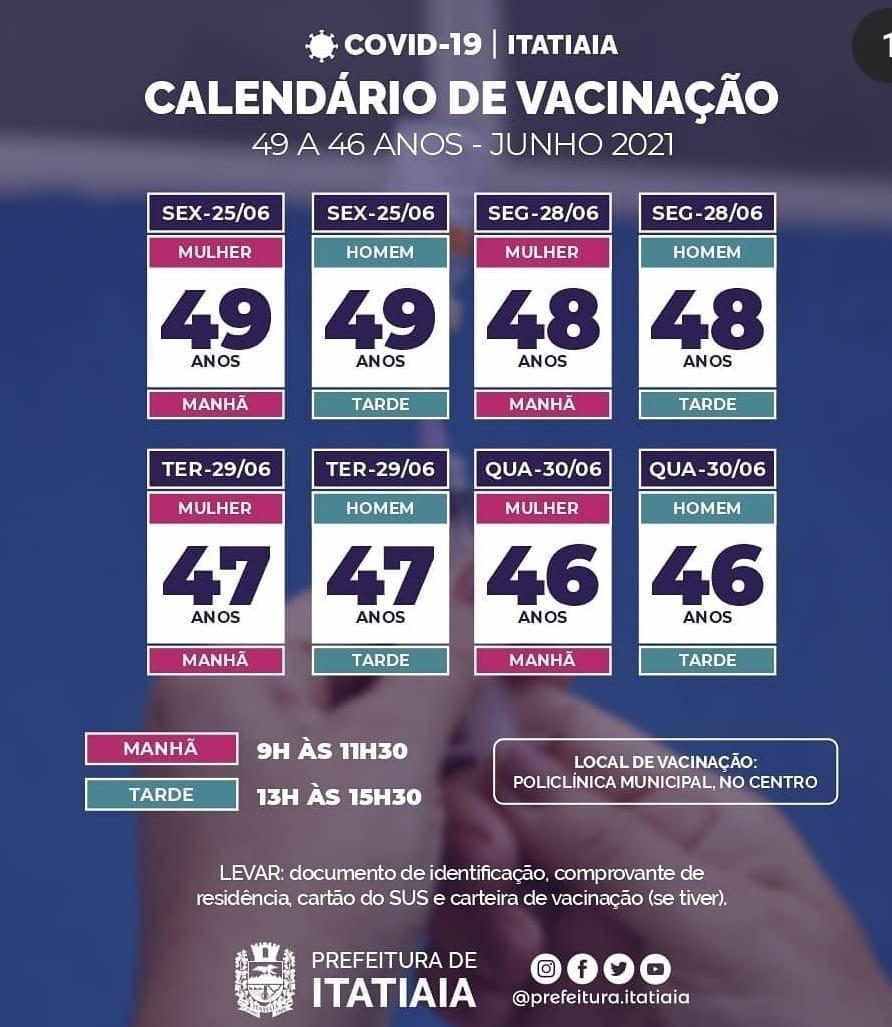 Itatiaia divulga calendário de vacinação para moradores de 49 a 46 anos