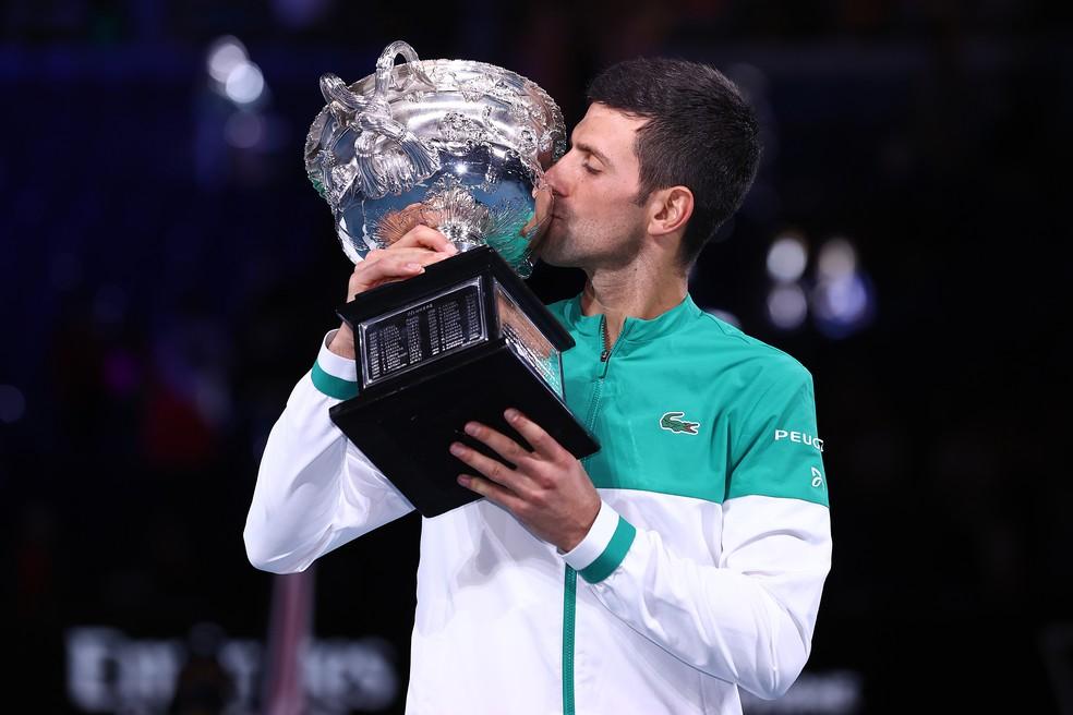 Novak Djokovic, campeão do Australian Open pela nona vez — Foto: Getty Images