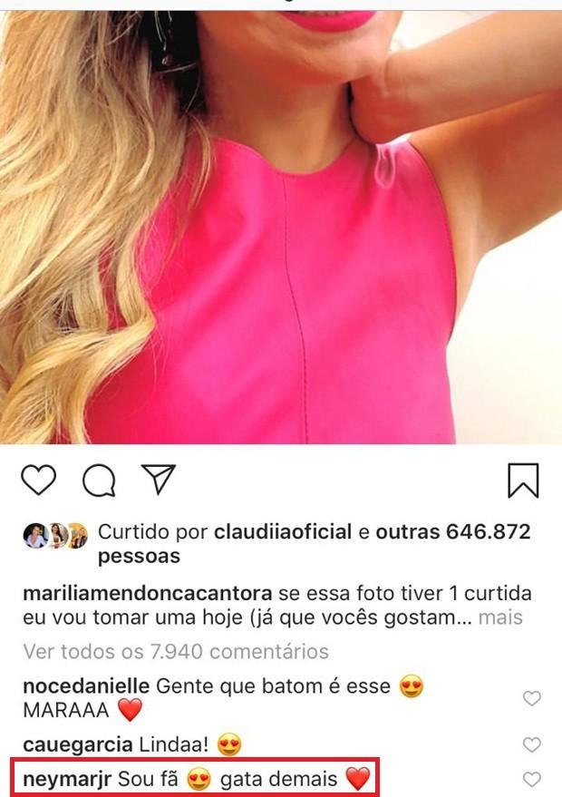 Neymar elogia Marília Mendonça (Foto: Reprodução/Instagram)